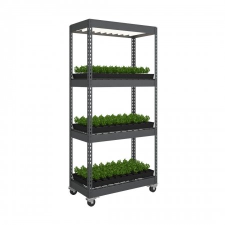 Grow Light Shelving with Wheels, 4 Shelves